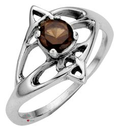 Ladies Ring Crafted In Sterling Silver Celtic Open Swirl Design With Offset Smokey Quartz Stone  * Complete with 45cm (18 inch) chain  * Edinburgh hallmarked, Sterling Silver  * Unique design inspired by Celtic forms  * Made with finest traditional materials  * Individually hand-crafted in Scotland in a family run workshop  * Presentation boxed to make a great gift
