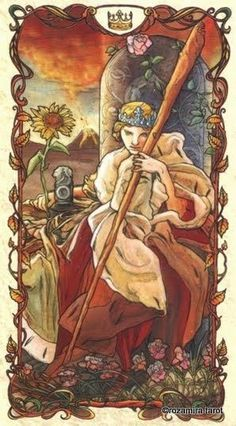 Tarot- Homage to A.Mucha --queen of wands