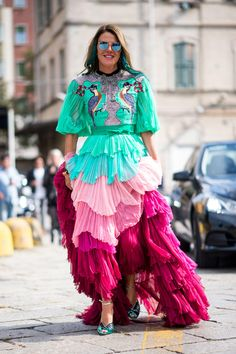 Anna Dello Russo in Gucci on the street at Milan Fashion Week. Photo: Imaxtree