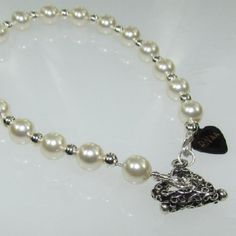 White Swarovski Crystal Pearls with Silver Plated round beads Brace......