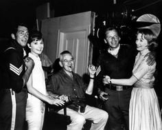 Dean Martin, Audrey Hepburn, director William Wyler, Frank Sinatra and Shirley MacLaine on the set of The Children's Hour, 1961.
