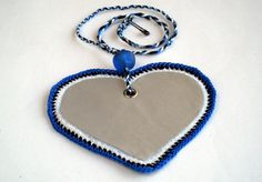 Soft safety reflector, heart bag charm, cotton crochet colors of Estonia and Botswana, by MultiKultiCrafts