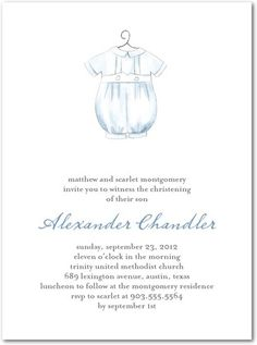 Baptism, Christening Invitations Delicate Gown - Front : Lapis