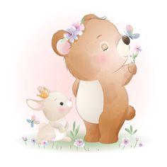 Illustration Blume, Lion Illustration, Watercolor Illustration, Watercolor Flower Background, Watercolor Rose, Doodle Bear, Doodles Bonitos, Christmas Card Template, Hand Drawn Flowers