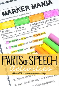 Parts of Speech activities ($), use markers to color code parts of speech in sentences, great for 2nd grade, 3rd grade, and 4th grade!