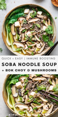 Bok Choy & Wild Mushroom Soba Noodle Soup – The Simple Veganista A hearty and delicious Soba Noodle Soup recipe with bok choy, mushrooms, tofu, and green onions in a miso broth comes together in under 30 minutes! Vegan and gluten-free recipe. Vegan Recipes Easy, Veggie Recipes, Asian Recipes, Whole Food Recipes, Vegetarian Recipes, Cooking Recipes, Soup Recipes, Drink Recipes, Bok Choy Rezepte