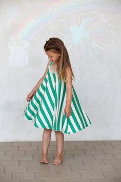 Green and Ivory Twirl Dress by  buckleberrykids.com