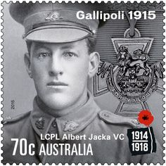 Australia's first WWI Victoria Cross recipient, Albert Jacka VC, remembered in Gallipoli stamp issue. Now available in-store or online: http://auspo.st/1OhcERp Anzac Cove, Gallipoli Campaign, Old Stamps, Anzac Day, Lest We Forget, World War One, Stamp Collecting, Military History, Wwi