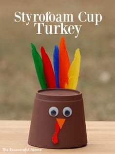 Kids Can Transform A Foam Cup Into A Turkey Craft * kinder können eine schaumschale in ein truthahnhandwerk verwandeln * * For Seniors thanksgiving crafts, For Children thanksgiving crafts, thanksgiving crafts Easy Thanksgiving Preschool, Thanksgiving Crafts For Kids, Kids Christmas, Thanksgiving Turkey, November Thanksgiving, Christmas Tables, Nordic Christmas, Holiday Tables, Cup Crafts