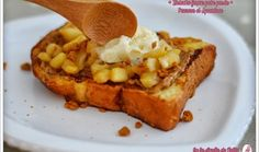 French toast ... apple, speculoos and vanilla ice cream !  Pain perdu : pomme, speculoos et glace vanille  - by la dinette de Nelly for 100% mag tv show -