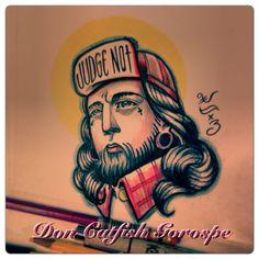 My homie Jesus tattoo flash design