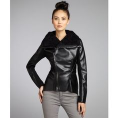 Walter Black Faux Leather Ainsley Fur Lined Asymmetric Zip Jacket Style 321220101
