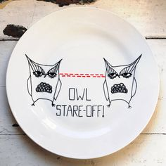 Owl StareOff hand-illustrated plate