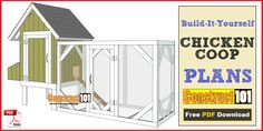 4x4 chicken coop plans PDF download, includes step-by-step instructions, drawings, measurements, shopping list and cutting list. Free plans at Construct101.