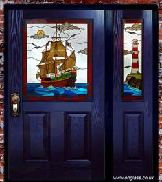 Stained glass - galleon, ship, boat, lighthouse design