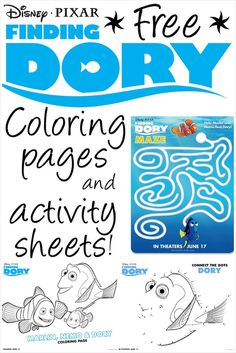Finding Dory Printable Coloring Pages and Activity Sheets. Free Disney printables are the best!