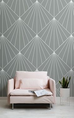 Our grey art deco print wallpaper is a modern take on iconic Art Deco pattern, featuring the well known sunburst motifs. Geometric Wall Paint, Geometric Wallpaper, Geometric Art, Washi Tape Wallpaper, Bedroom Paint Design, Bedroom Wall Designs, Accent Wallpaper, Art Deco Wallpaper, Wall Paint Patterns