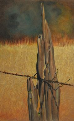 Fence Post ,#3, color pencil on paper