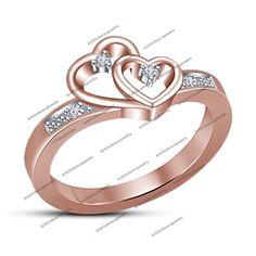 New 10K Rose Gold Double Heart Clear Diamond Promise Ring Size 5 6 7 8 9 10 11 #br925silverczjewelry #DoubleHeart #WeddingAnniversaryEngagementBirthdayParty