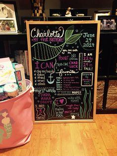 Charlotte's first birthday chalkboard mermaid theme under the sea chalk board chalk marker hall ink 1st birthday