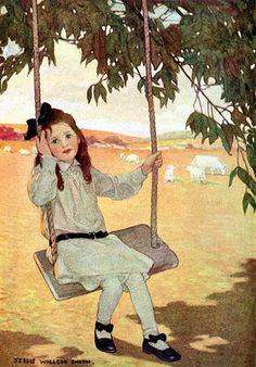 Girl On A Swing, by Jessie Willcox Smith (1863 – 1935, American)