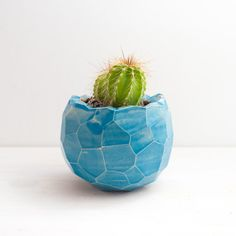 Blue Faceted Ceramic Planter for succulents for by NCeramics