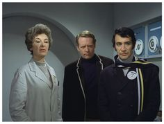 CHECKMATE: Psychiatrist Number 23 (played by Patricia Jessel), Number Six (Patrick McGoohan) and Number Two (Peter Wyngarde).