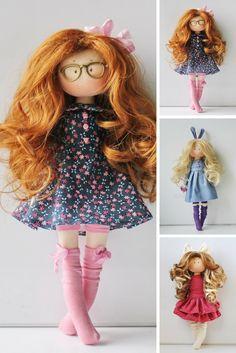 Handmade doll Textile doll Bambole Puppen Rag doll Tilda doll Cloth doll Soft doll Interior doll Art doll Blue doll Fabric doll by Olesya