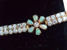 NEW 18K Gold on 925 STERLING SILVER Opal Cluster STATEMENT Tennis Bracelet #Tennis