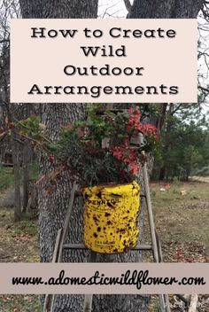 How to create wild outdoor floral arrangements using salvaged materials and foraged plants from www.adomesticwildflower.com