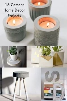 I'm obsessed with using cement in crafts, and these DIY concrete projects are the perfect way to fulfill my need! I love how modern these ideas are. Diy Home Decor Projects, Diy Home Crafts, Diy Projects To Try, Decor Diy, Home Decoration, Decoration Design, Decor Ideas, Decor Crafts, Craft Ideas