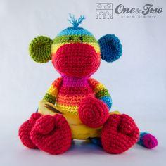 Rainbow Sock Monkey Amigurumi PDF Crochet door oneandtwocompany