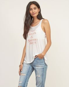 Womens Graphic Ribbed Tank | Go breezy and play it cool with a graphic printed tank top, comfortable dropped arm openings with a relaxed scoop neckline and a drapey silhouette, Classic Fit | Abercrombie.com