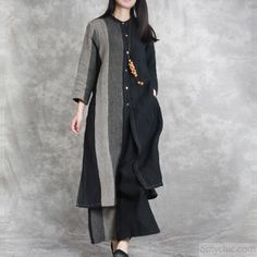 2018 black patchwork linen two pieces asymmetric shirt and wide leg pantsMost of our dresses are made of cotton linen fabric, soft and breathy. loose dresses to make you comfortable all the time. Makes you look slimm Pakistani Fashion Casual, Pakistani Dresses Casual, Indian Fashion, Kurta Designs, Blouse Designs, Nice Dresses, Casual Dresses, Modele Hijab, Kurti Embroidery Design