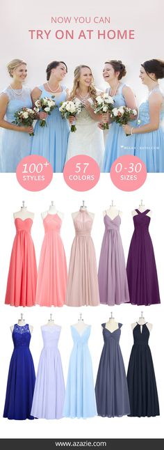 On the quest for the perfect dress? Experience Azazie's try-on at home service and sample your dress in a laid back environment. Over 100 styles, 57 colors and a wide range of sizes beginning from 0 to 30! Perfect if you are looking for plus sizes!