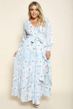 Plus Size Surplice Floral Maxi Dress Blue Plus Size Retro Dresses, Plus Size Maxi Dresses, Plus Size Outfits, Plus Size Formal, Look Plus Size, Cena Formal, Curvy Fashion, Girl Fashion, Professional Wear