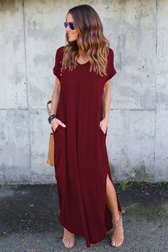 V Neck Short Sleeve Loose Fit Side Slit Maxi Dress novashe.com