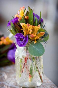 Mason jar cocktail arrangement, by an incredibly talented floral designer
