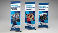 streetgames-young-volunteer-programme-banner Roller Banners, Street Game, Volunteer Programs, Banner Design, Programming, Computer Programming, Coding