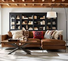 Jake Leather Sofa with Chaise Sectional #potterybarn