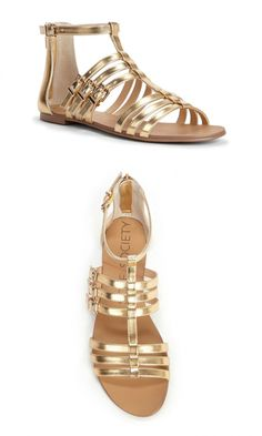 Strappy gold gladiator sandals with an easy back zipper and gold-toned hardware