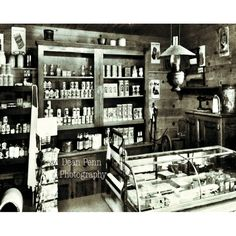 General Store, Home Decor, Wall Decor, Old General Store, Black and White Historic Photos Old General Stores, Old Country Stores, Black And White Wall Art, Black White, Old Gas Stations, Old Buildings, Home Wall Decor, Historical Photos, Home And Living