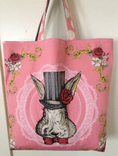 March Hare & Polka Dots: Reversible Tote Bag, Kokka Fabric, Lecien, Japanese Cotton Fabric, Alice in Wonderland, White Rabbit