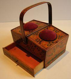 Rare English Late Georgian Painted Tunbridge Ware Sewing Box c.1810