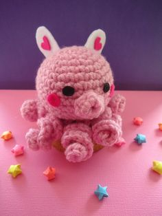 Pink Butterfly Crochet Amigurumi Octopus Doll / Handmade Gift for Valentine / Couples Gift. $16.00, via Etsy.