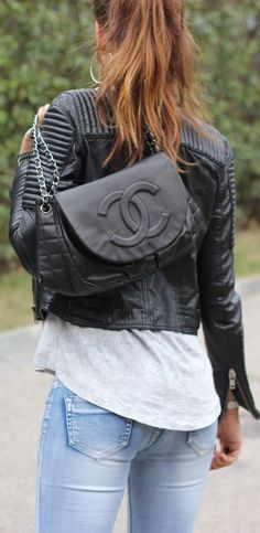 Mango Black Leather Quilted & Cropped Moto Jacket by Mytenida ✿Teresa Restegui http://www.pinterest.com/teretegui/✿