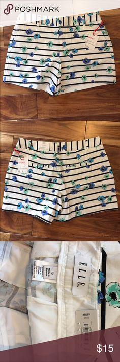 """Elle striped shorts Elle brand striped and floral shorts, relaxed fit, 4"""" inseam Elle Shorts"""