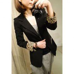 $14.46 Stylish Shawl Neck Long Sleeves Leopard Print Splicing Good Cut Shrug Style Cotton Blend Blazer For Women
