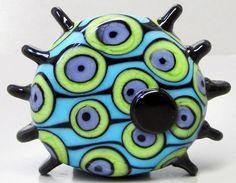 Turple & Green Mod Spot Finned Focal by beadygirlbeads on Etsy, $35.00