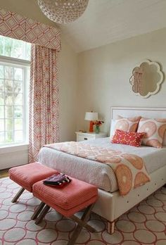 Love this vintage-modern bedroom in coral and cream | Round scallop mirror above bed - Andrew Howard Design